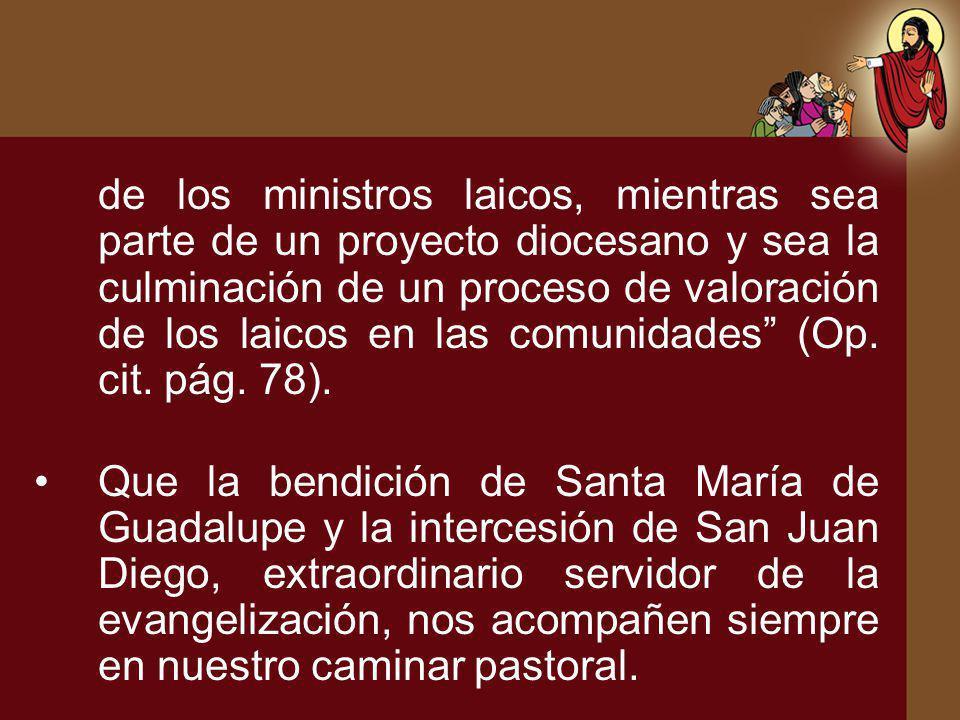 de los ministros laicos, mientras sea parte de un proyecto diocesano y sea la culminación de un proceso de valoración de los laicos en las comunidades (Op. cit. pág. 78).