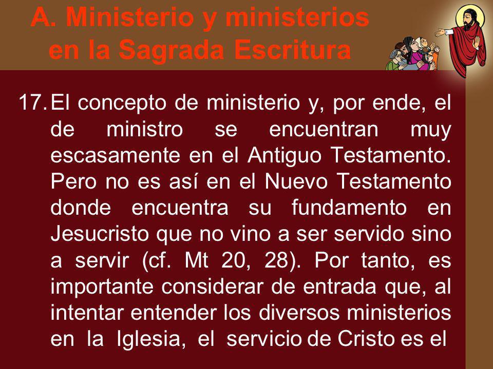 A. Ministerio y ministerios en la Sagrada Escritura