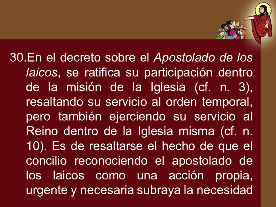 En el decreto sobre el Apostolado de los laicos, se ratifica su participación dentro de la misión de la Iglesia (cf.