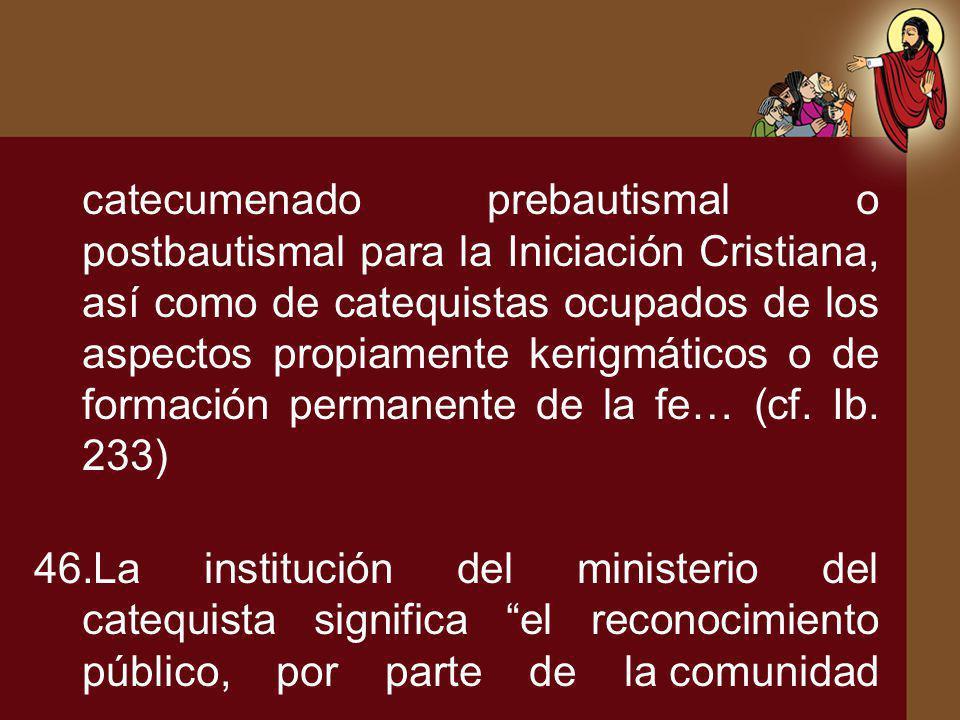 catecumenado prebautismal o postbautismal para la Iniciación Cristiana, así como de catequistas ocupados de los aspectos propiamente kerigmáticos o de formación permanente de la fe… (cf. Ib. 233)
