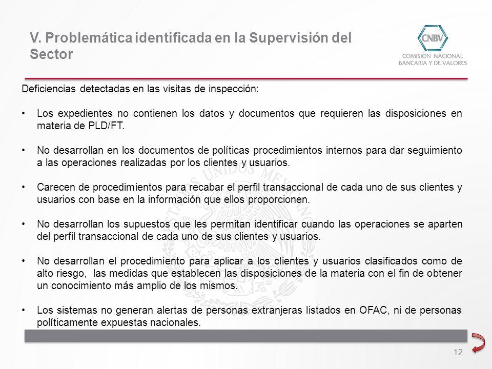 V. Problemática identificada en la Supervisión del Sector