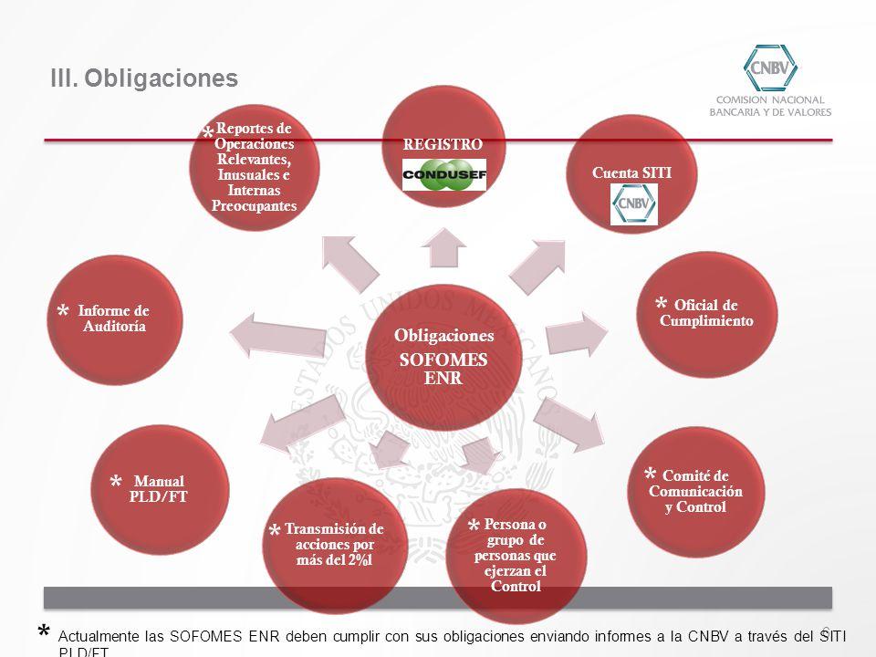 * * * * * * * * III. Obligaciones Obligaciones SOFOMES ENR REGISTRO