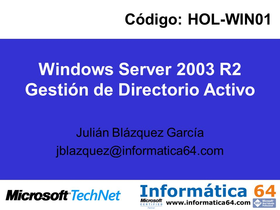 Windows Server 2003 R2 Gestión de Directorio Activo
