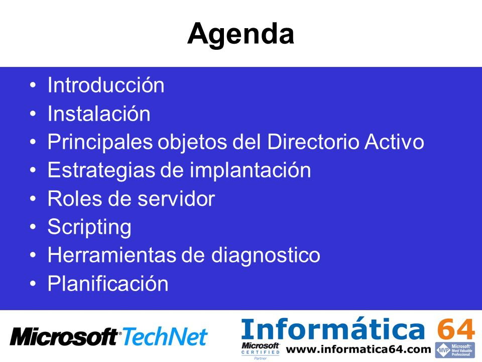 Agenda Introducción Instalación