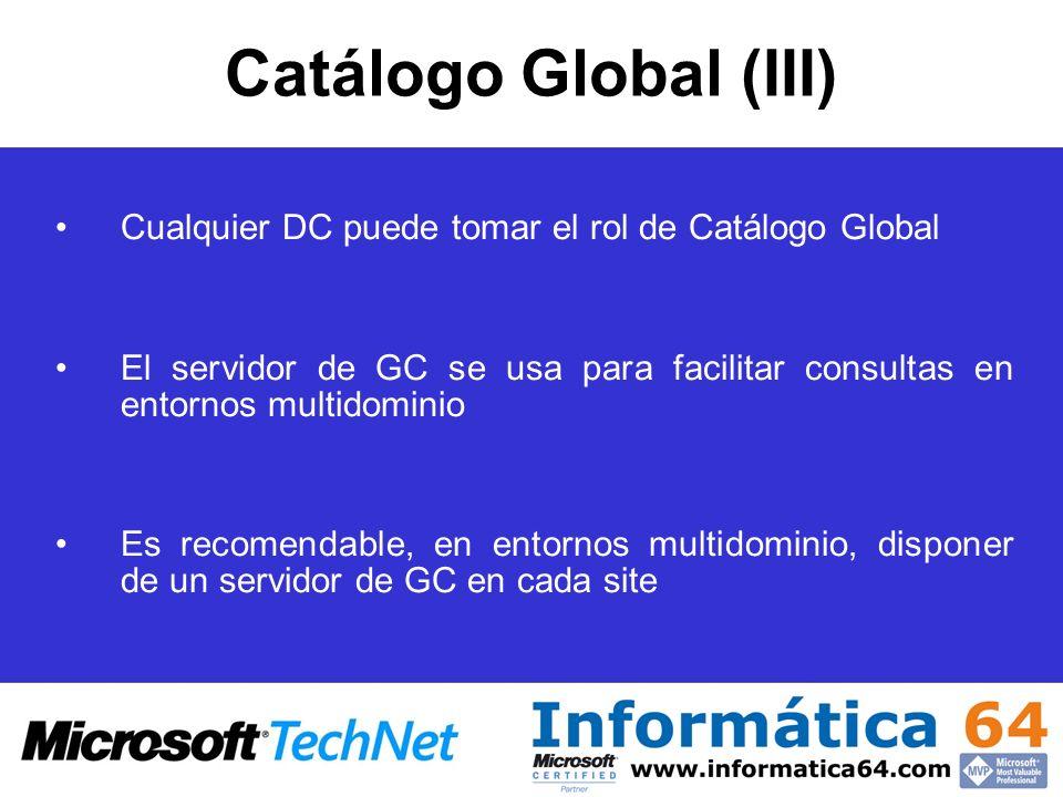 Catálogo Global (III) Cualquier DC puede tomar el rol de Catálogo Global. El servidor de GC se usa para facilitar consultas en entornos multidominio.