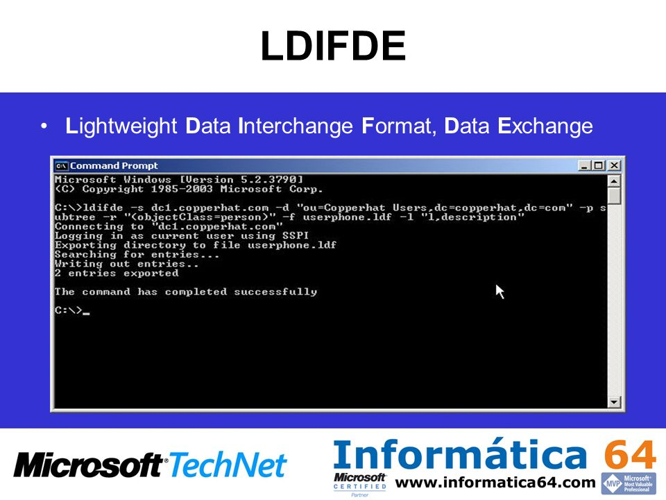 LDIFDE Lightweight Data Interchange Format, Data Exchange