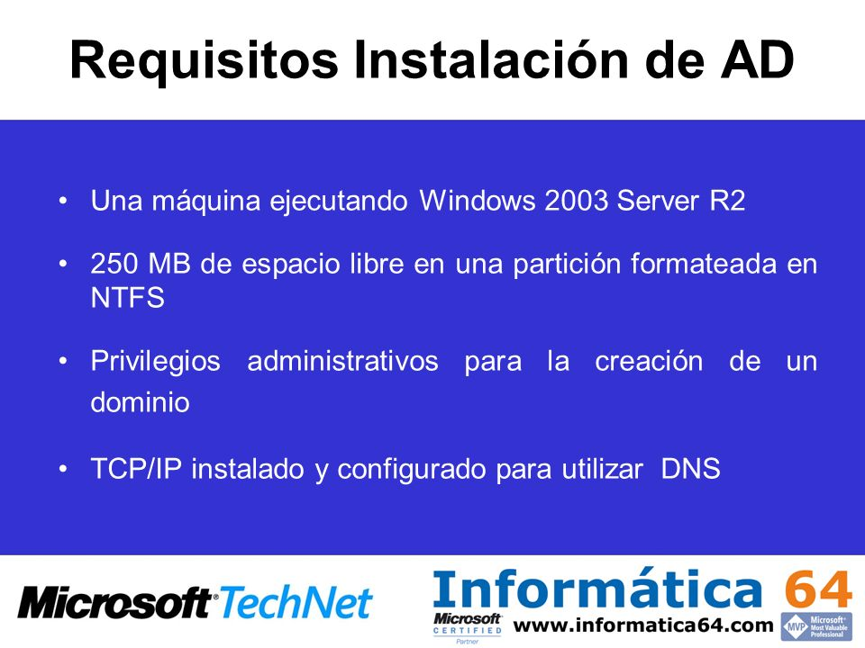 Requisitos Instalación de AD