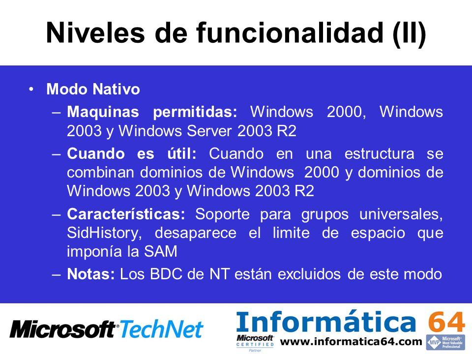 Niveles de funcionalidad (II)