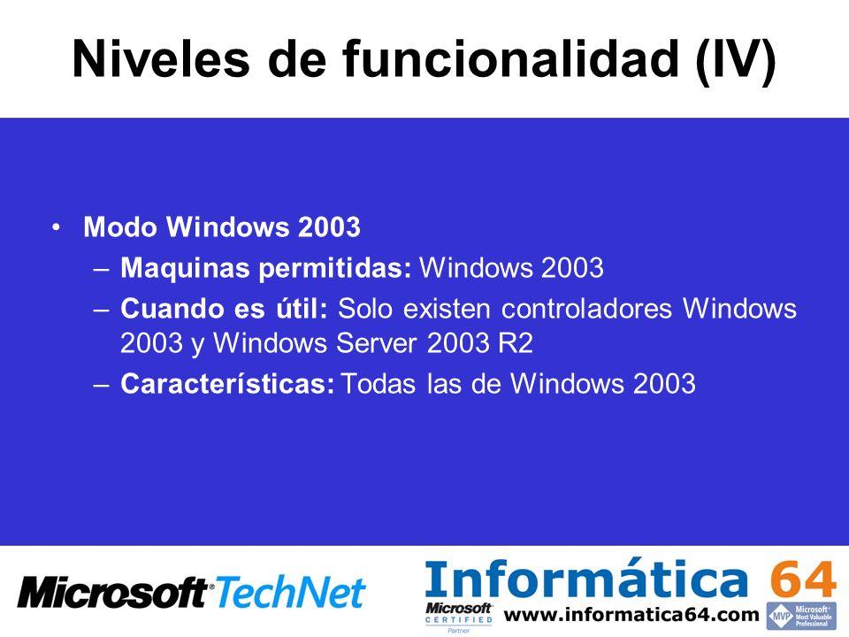 Niveles de funcionalidad (IV)