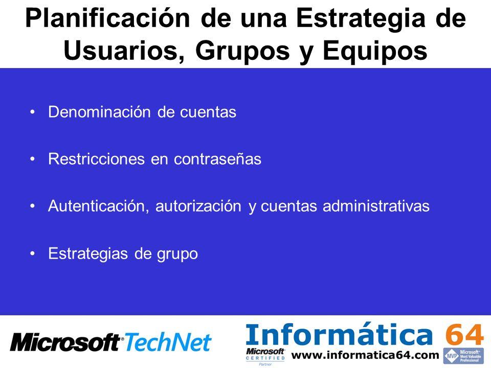 Planificación de una Estrategia de Usuarios, Grupos y Equipos