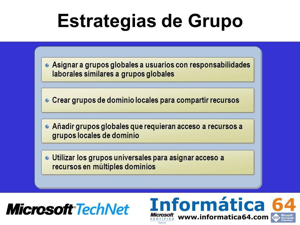 Estrategias de Grupo Asignar a grupos globales a usuarios con responsabilidades laborales similares a grupos globales.