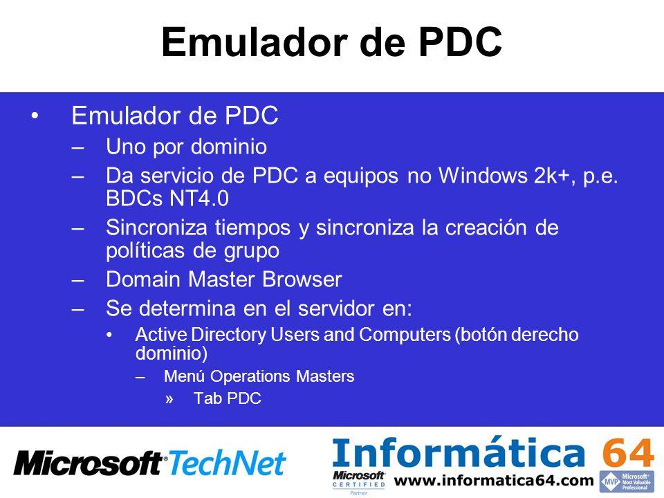 Emulador de PDC Emulador de PDC Uno por dominio