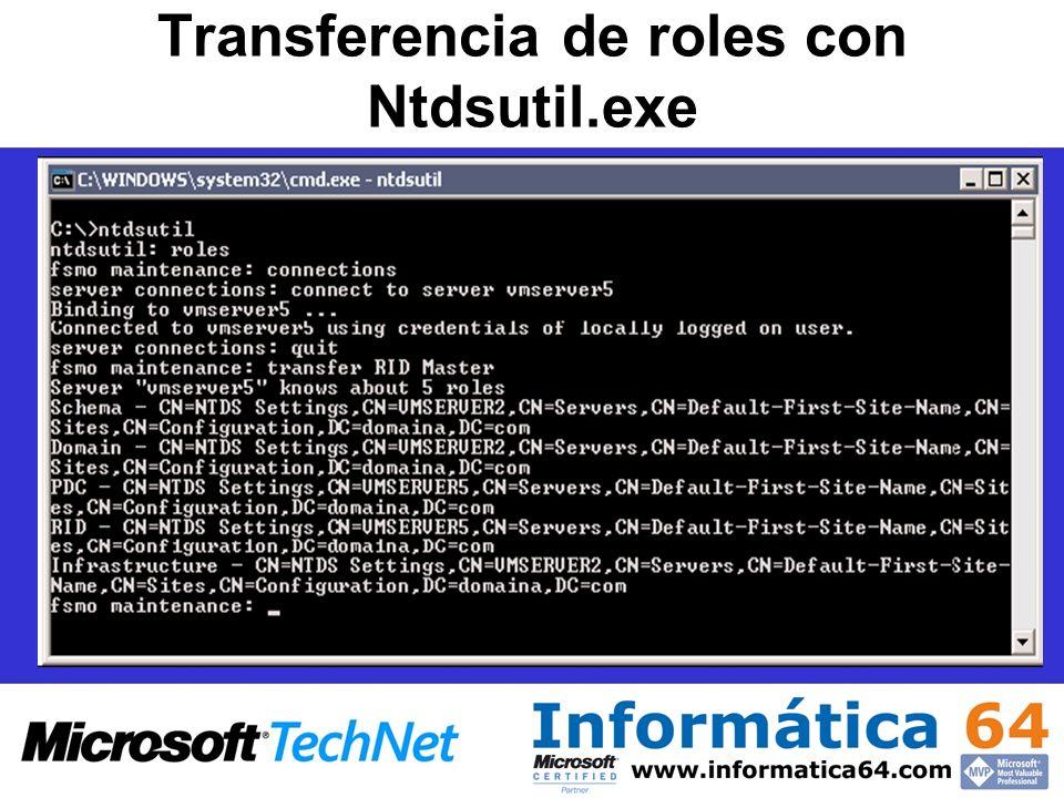 Transferencia de roles con Ntdsutil.exe
