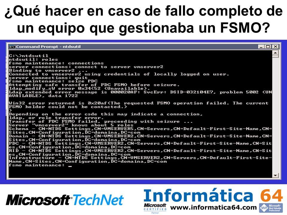 ¿Qué hacer en caso de fallo completo de un equipo que gestionaba un FSMO