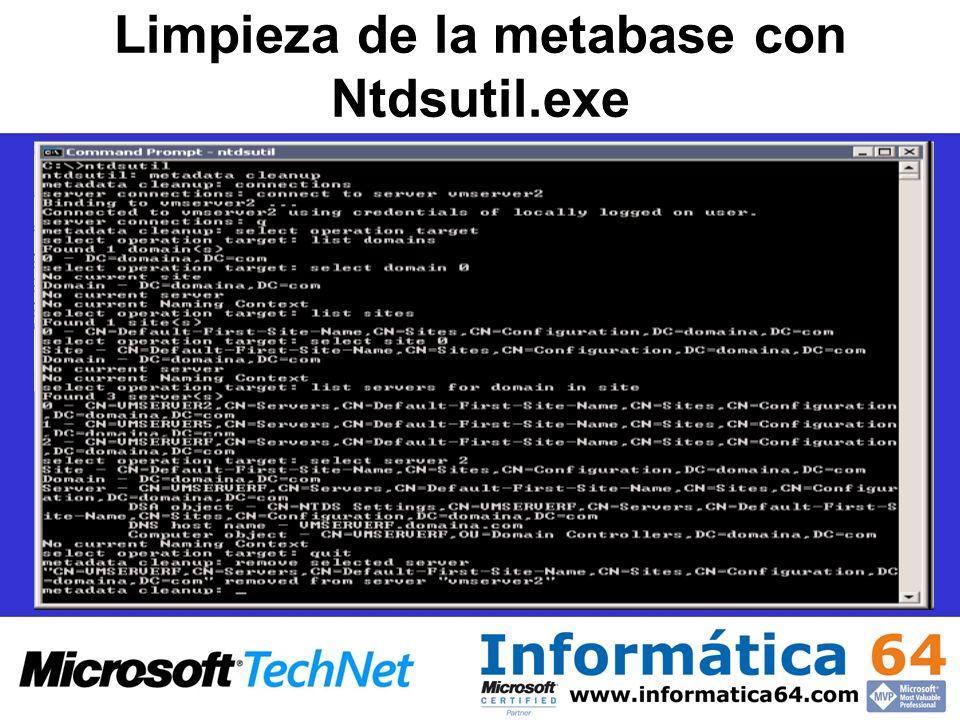 Limpieza de la metabase con Ntdsutil.exe