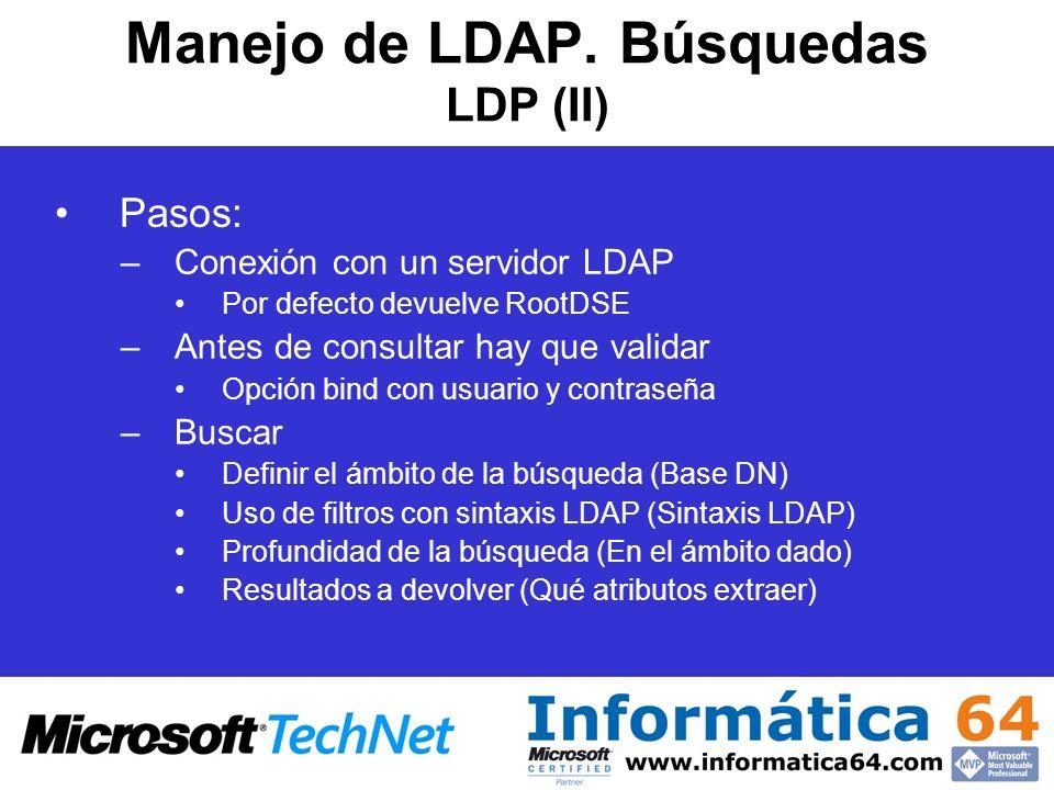 Manejo de LDAP. Búsquedas LDP (II)