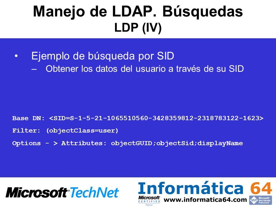 Manejo de LDAP. Búsquedas LDP (IV)