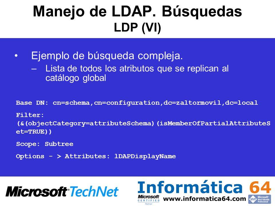 Manejo de LDAP. Búsquedas LDP (VI)