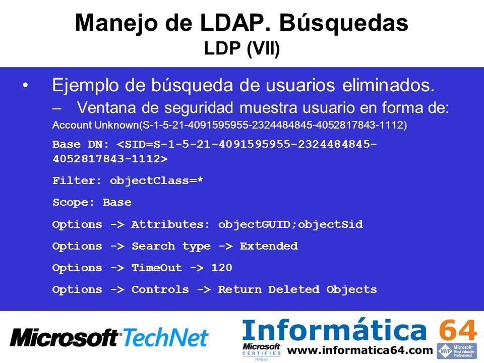 Manejo de LDAP. Búsquedas LDP (VII)