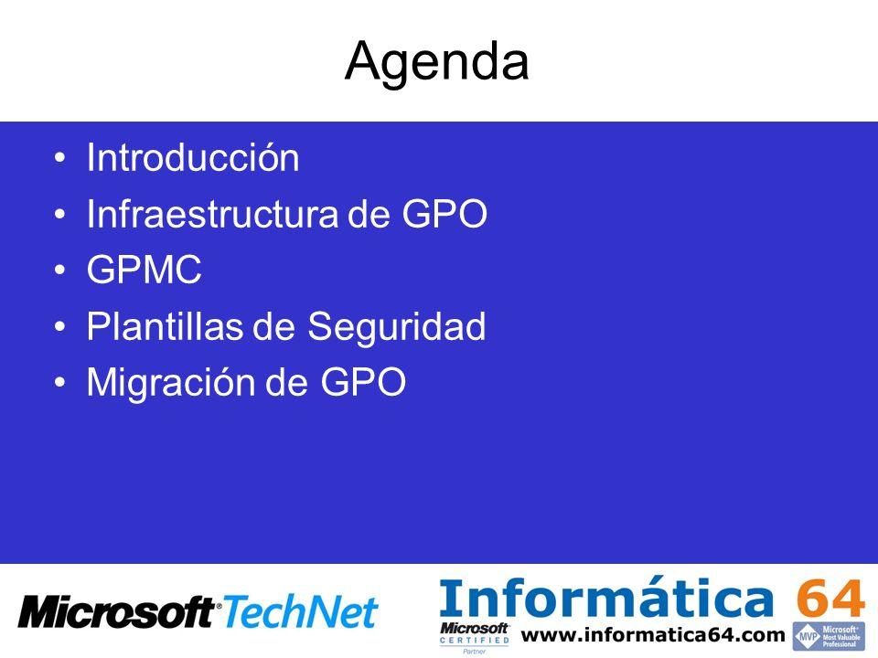 Agenda Introducción Infraestructura de GPO GPMC