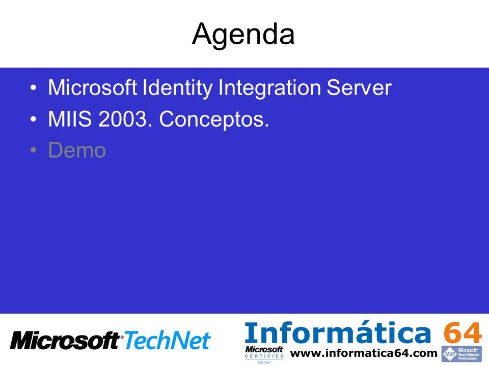 Agenda Microsoft Identity Integration Server MIIS 2003. Conceptos.