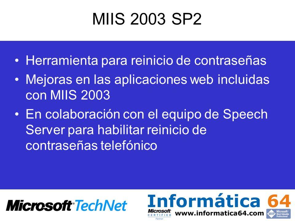MIIS 2003 SP2 Herramienta para reinicio de contraseñas