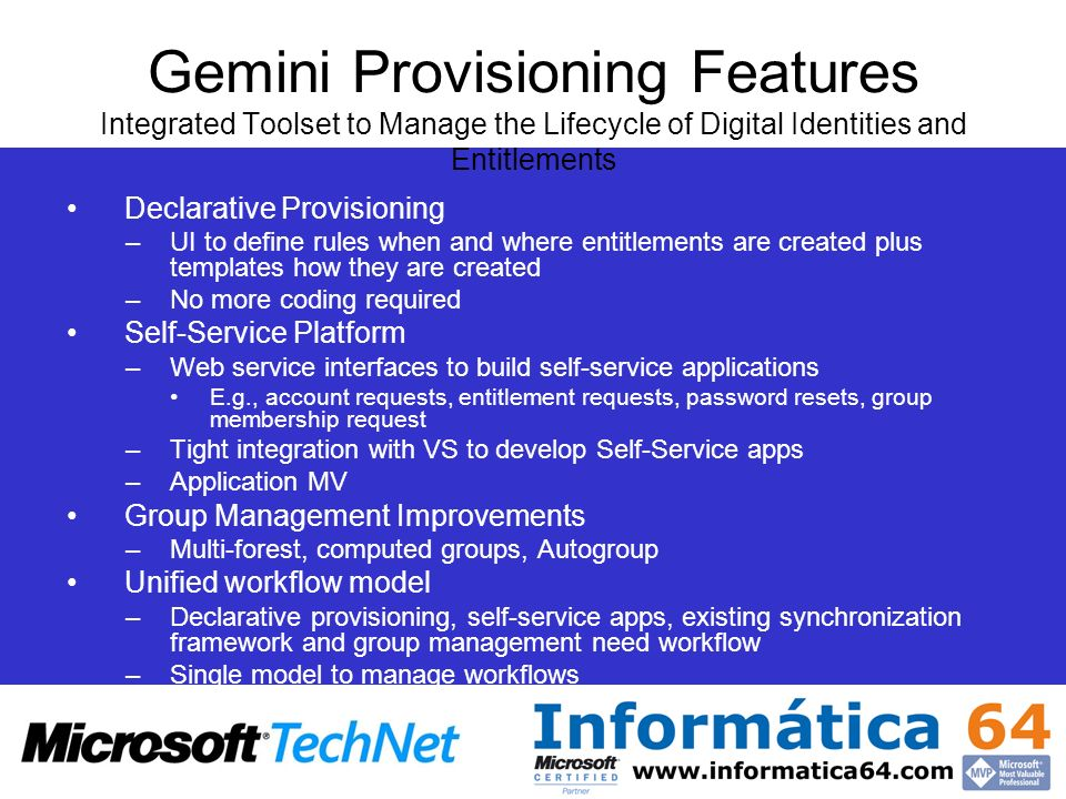 Gemini Provisioning Features Integrated Toolset to Manage the Lifecycle of Digital Identities and Entitlements