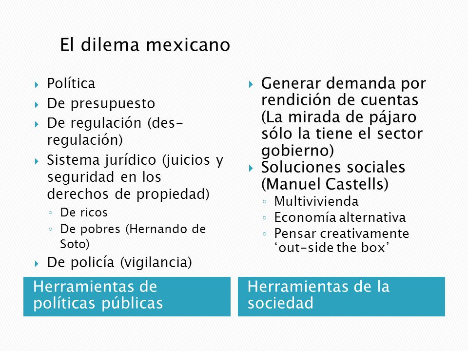 El dilema mexicano Política. De presupuesto. De regulación (des- regulación) Sistema jurídico (juicios y seguridad en los derechos de propiedad)