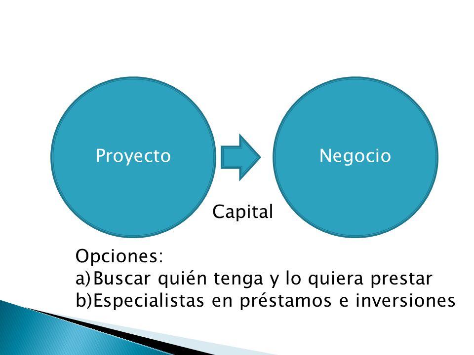 Proyecto Negocio. Capital. Opciones: Buscar quién tenga y lo quiera prestar.