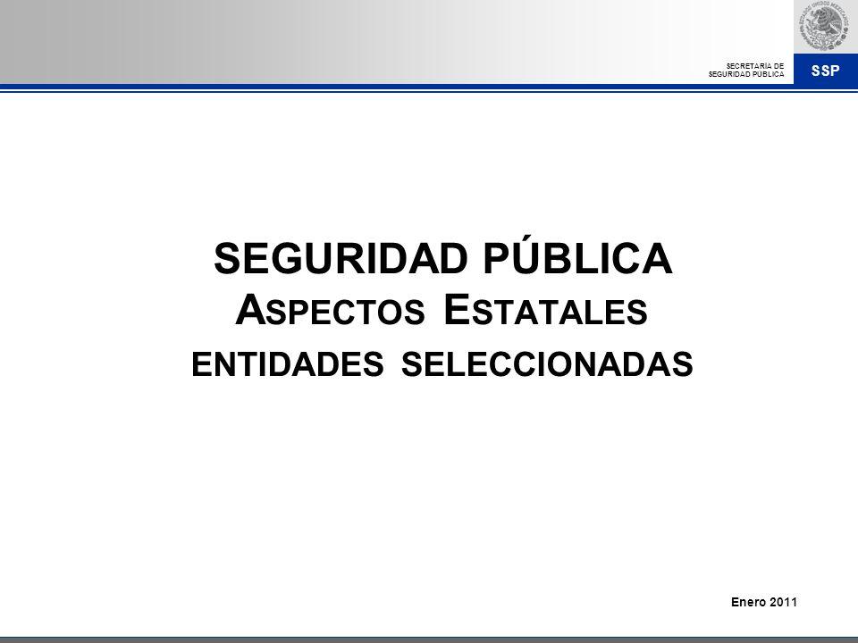 SEGURIDAD PÚBLICA Aspectos Estatales entidades seleccionadas
