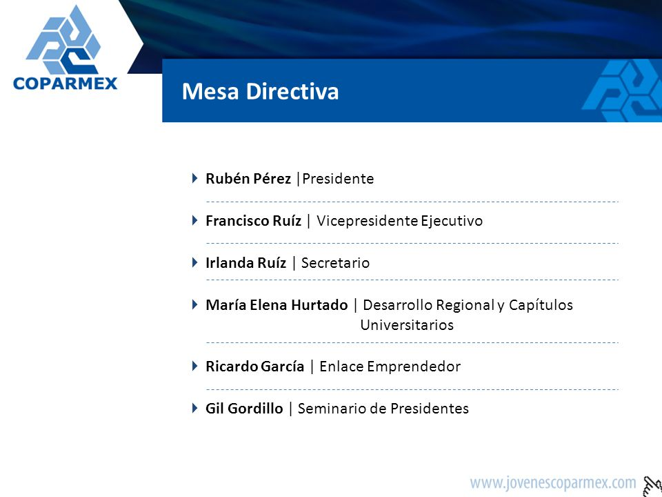 Mesa Directiva Rubén Pérez |Presidente