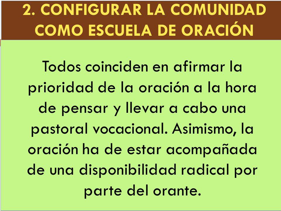 2. CONFIGURAR LA COMUNIDAD COMO ESCUELA DE ORACIÓN