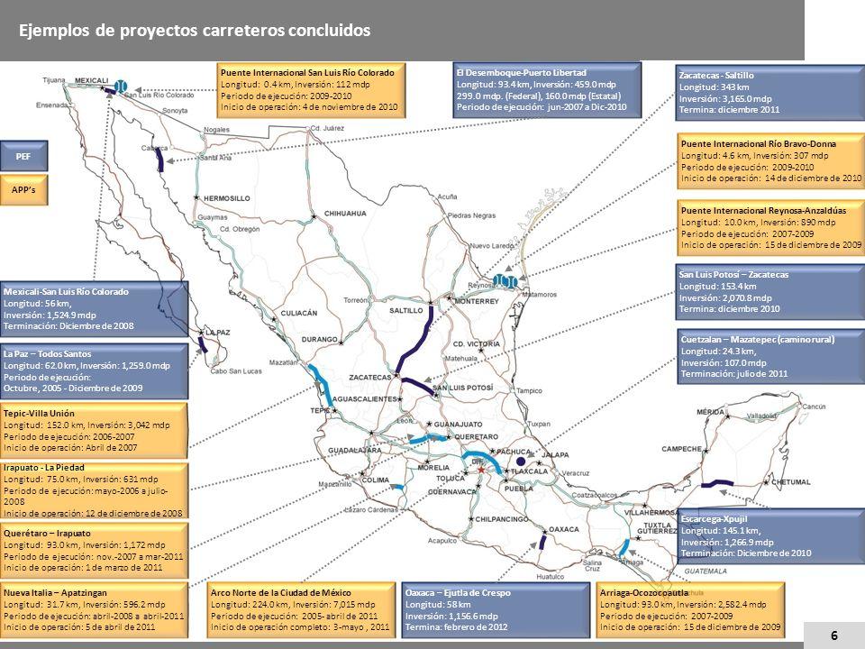 Ejemplos de proyectos carreteros concluidos