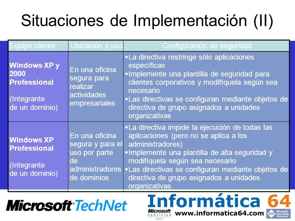 Situaciones de Implementación (II)