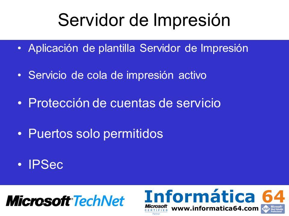 Servidor de Impresión Protección de cuentas de servicio