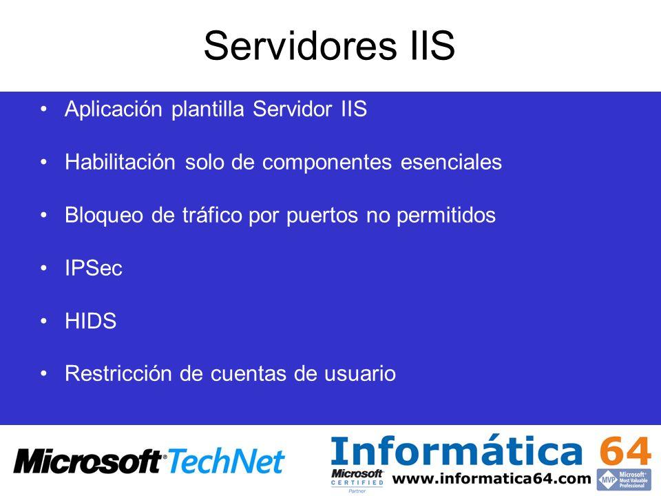 Servidores IIS Aplicación plantilla Servidor IIS