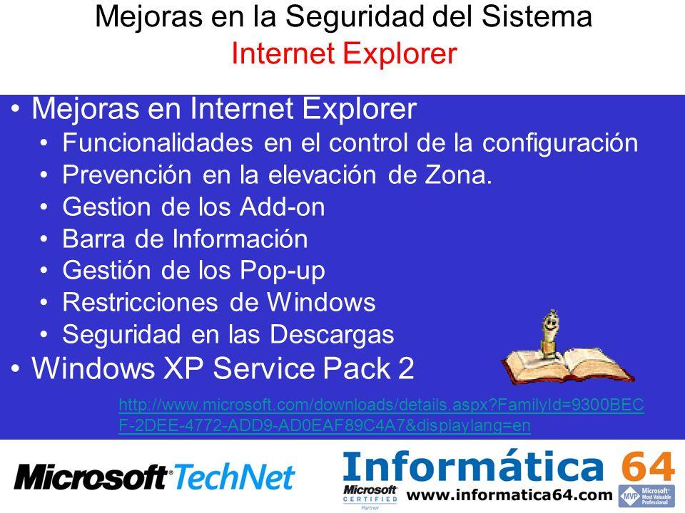 Mejoras en la Seguridad del Sistema Internet Explorer
