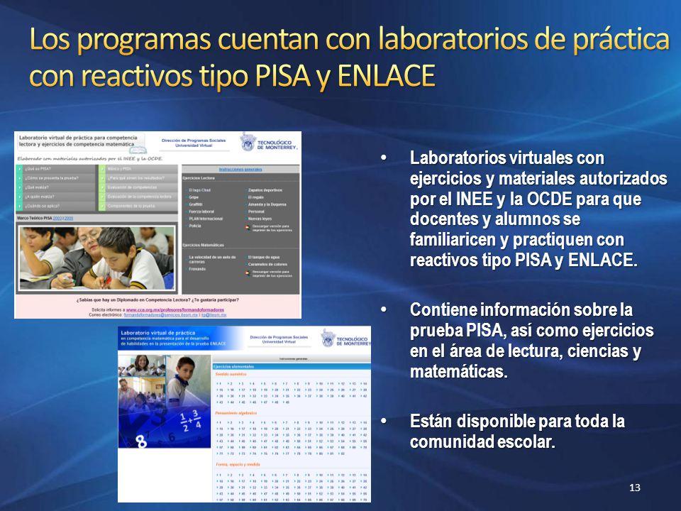 Los programas cuentan con laboratorios de práctica con reactivos tipo PISA y ENLACE