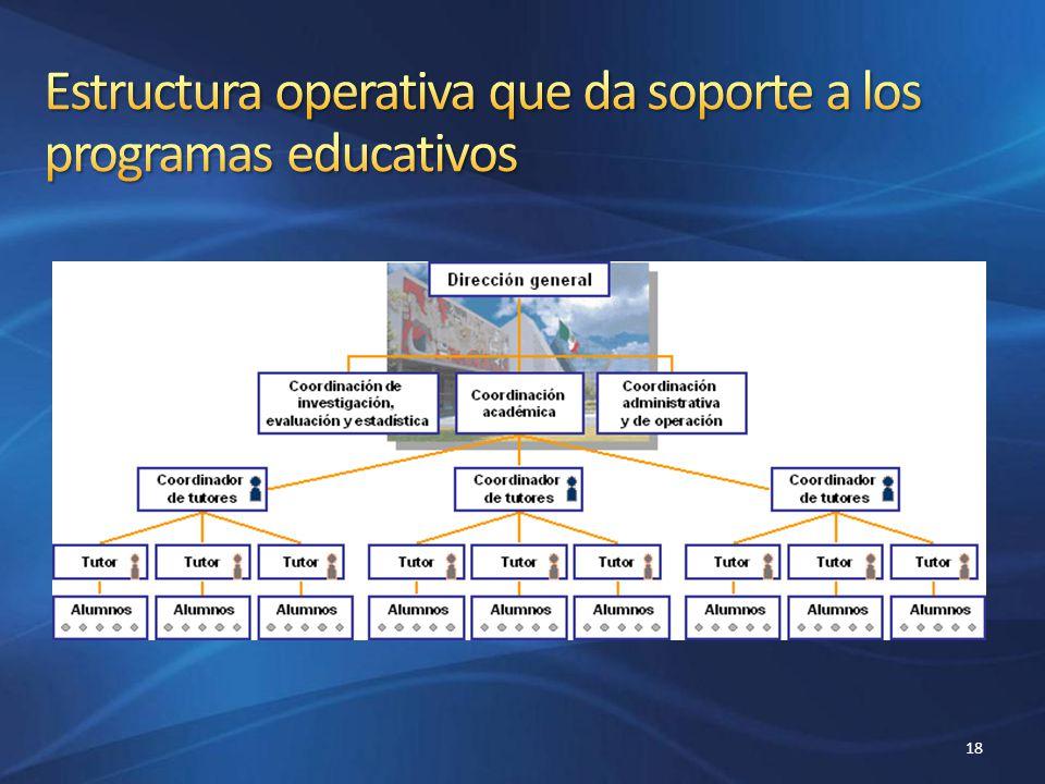Estructura operativa que da soporte a los programas educativos