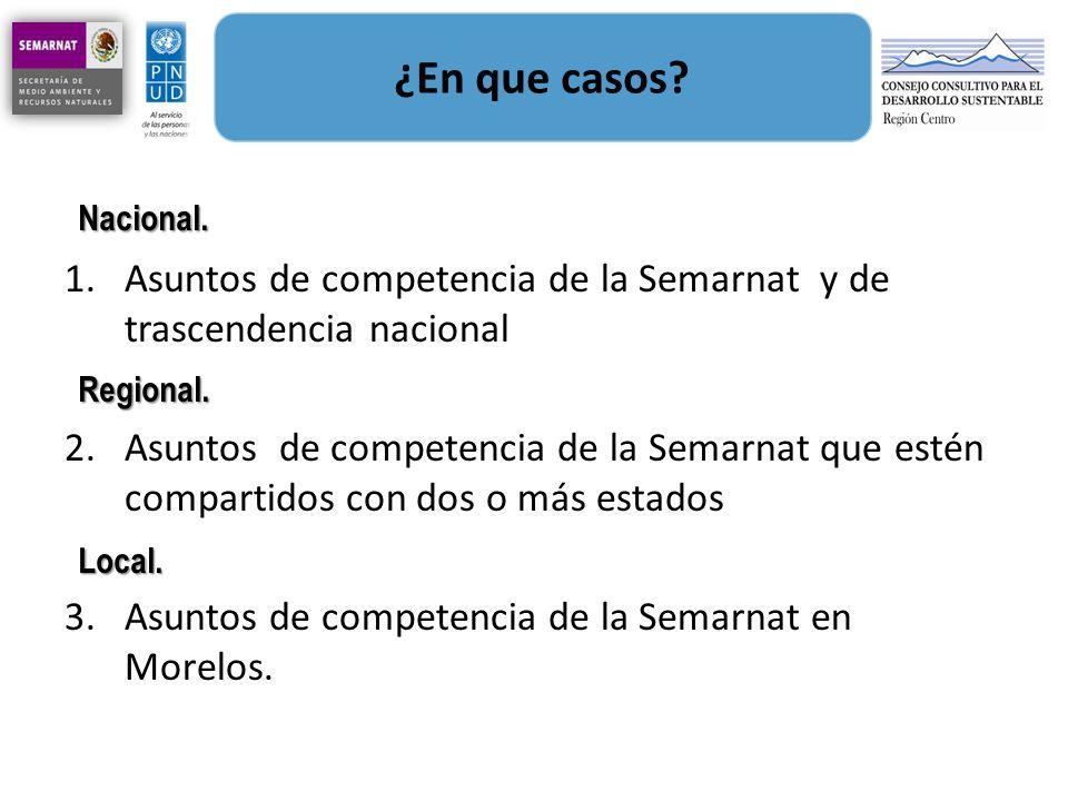 ¿En que casos Asuntos de competencia de la Semarnat y de trascendencia nacional.