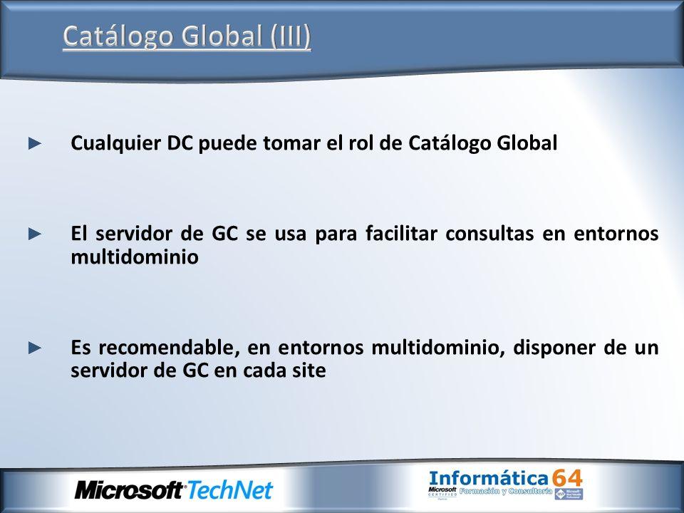 Catálogo Global (III)Cualquier DC puede tomar el rol de Catálogo Global. El servidor de GC se usa para facilitar consultas en entornos multidominio.
