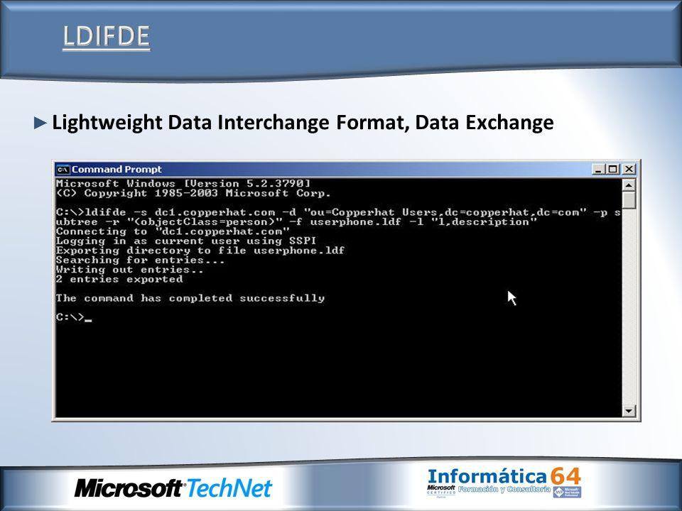 LDIFDE Lightweight Data Interchange Format, Data Exchange