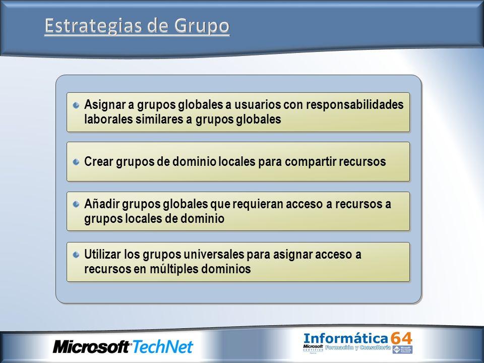 Crear grupos de dominio locales para compartir recursos