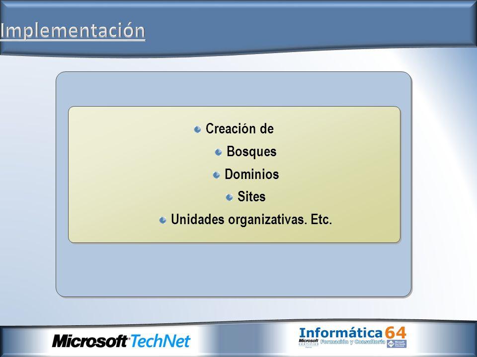 Unidades organizativas. Etc.