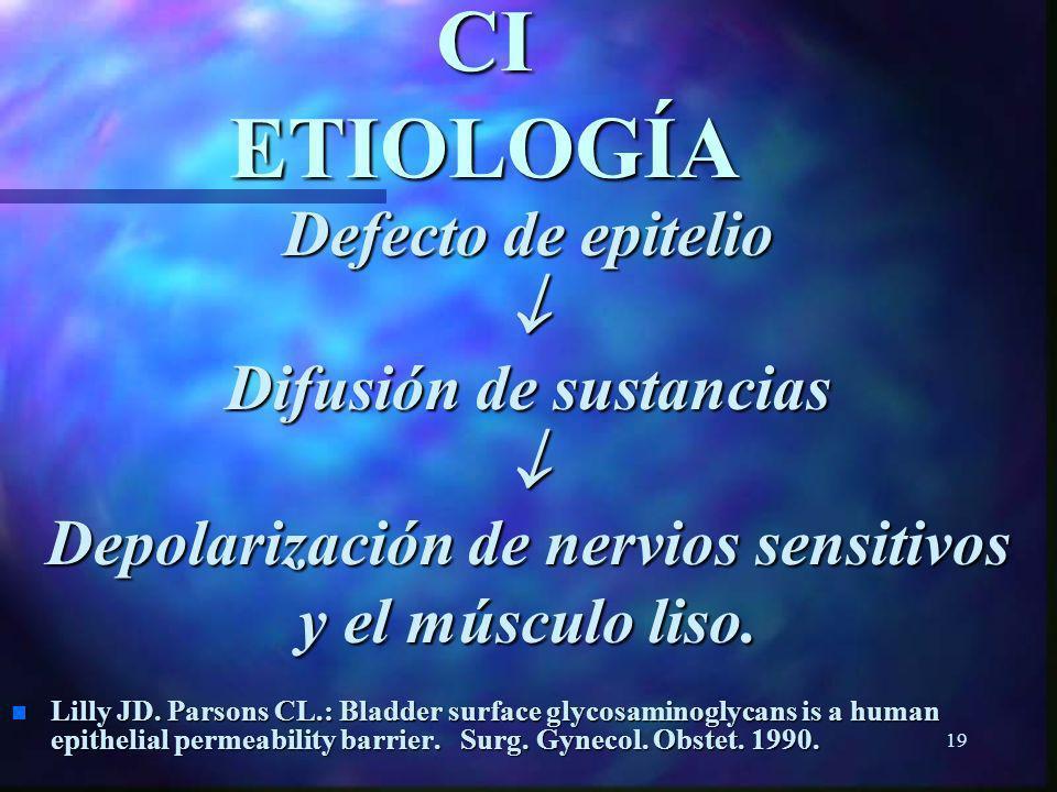 Difusión de sustancias Depolarización de nervios sensitivos