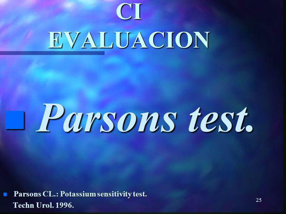 Parsons test. CI EVALUACION Parsons CL.: Potassium sensitivity test.