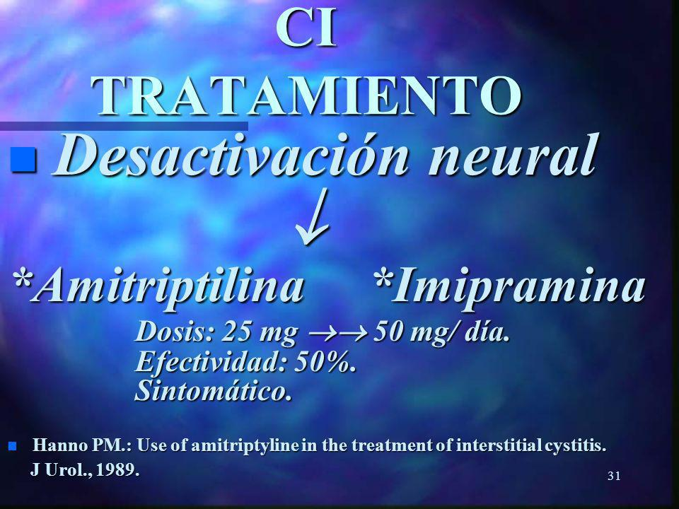  CI TRATAMIENTO Desactivación neural *Amitriptilina *Imipramina