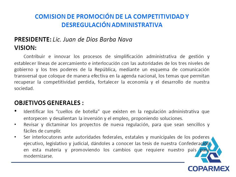 PRESIDENTE: Lic. Juan de Dios Barba Nava VISION: