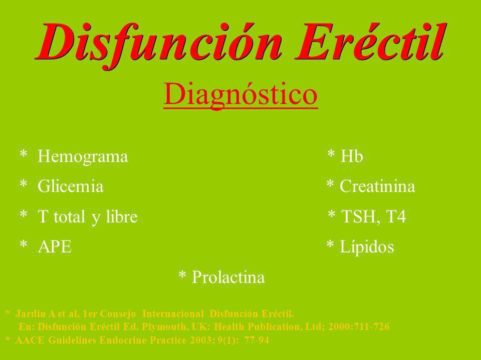 Disfunción Eréctil Diagnóstico * Hemograma * Hb