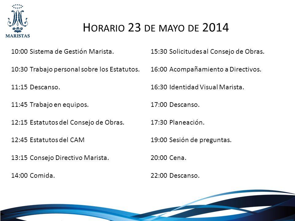 Horario 23 de mayo de 2014 10:00 Sistema de Gestión Marista.